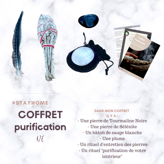coffret purification sauge selenite tourmaline